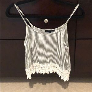 Cute lace trip crop top